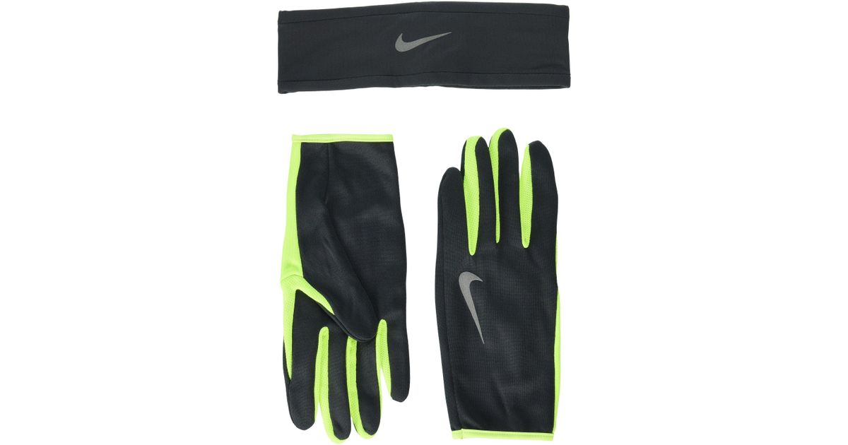 09b1b3e99e0 Lyst - Nike Run Dry Headband And Gloves Set (anthracite volt silver)  Athletic Sports Equipment in Green for Men