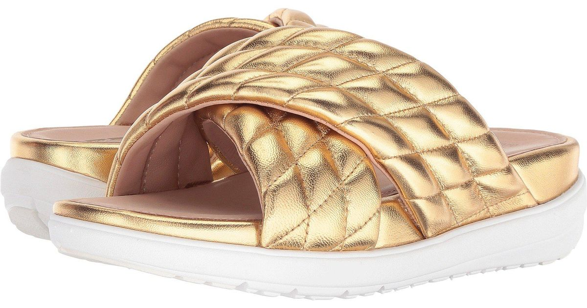 5413e90c8d70a4 Lyst - Fitflop Loosh Luxetm Cross Slide Leather Sandals in Metallic - Save  35%