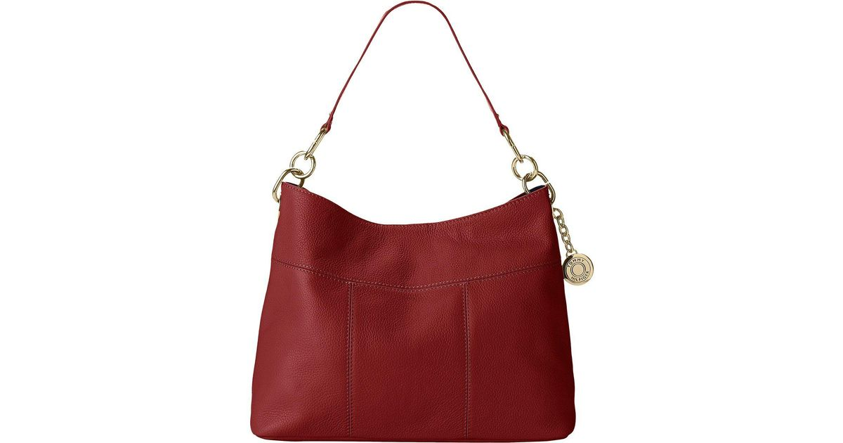 79158f02 Lyst - Tommy Hilfiger Tommy Signature Pebble Hobo in Red
