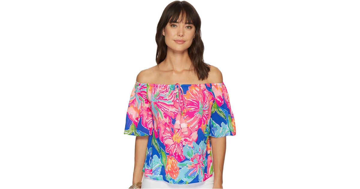 3fdeda15c05cf Lyst - Lilly Pulitzer Sain Off-the-shoulder Top (beckon Blue Jungle Utopia)  Women s Clothing
