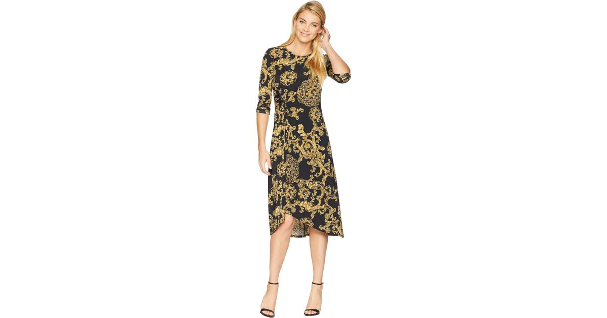 6456d492e82 Donna Morgan Printed Jersey Dress With Ruching in Black - Save 41% - Lyst