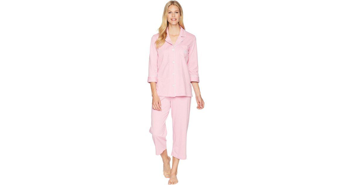 9a5810f67e Lyst - Lauren By Ralph Lauren Essentials Bingham Knits Capri Pj Set in Pink