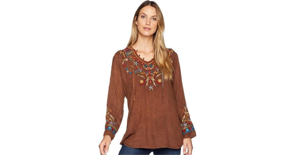 07077591 Lyst - Scully Bennington Boho Embroidered Fun Blouse in Brown - Save 39%