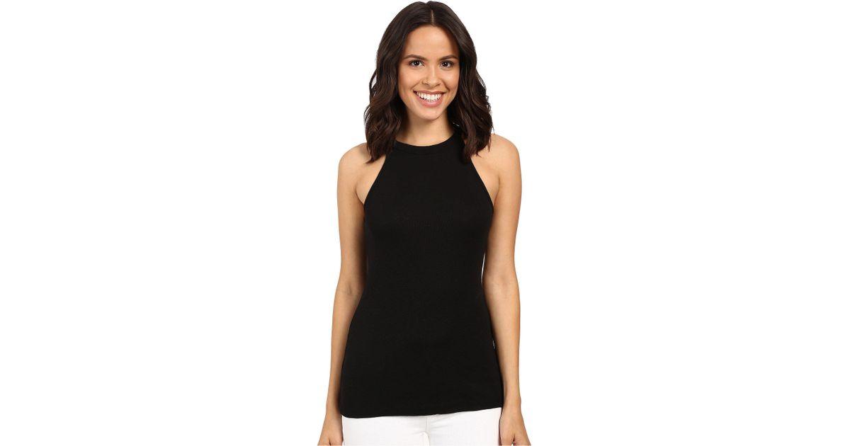 b5115309c9 Lyst - Michael Stars Slub Halter Tank Top (white) Women s Sleeveless in  Black