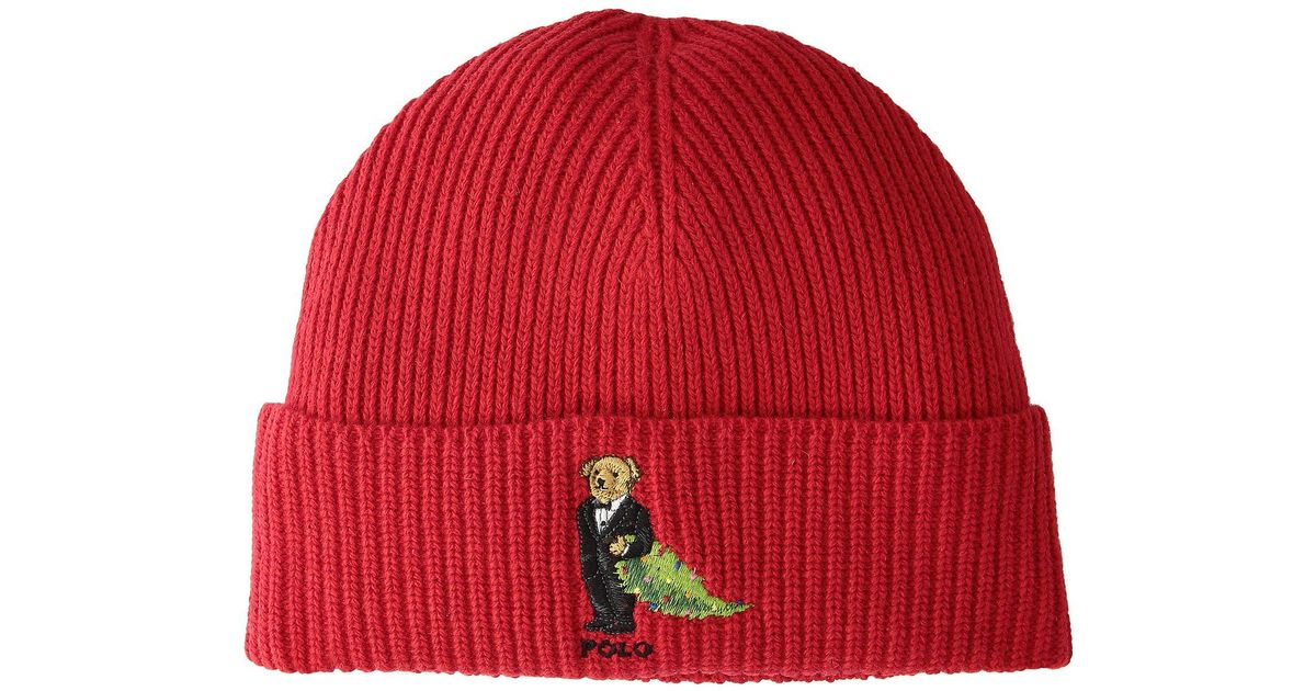 Lyst - Polo Ralph Lauren Christmas Tree Bear Cuff Hat (red) Beanies in Red  for Men 4384e3fbe74