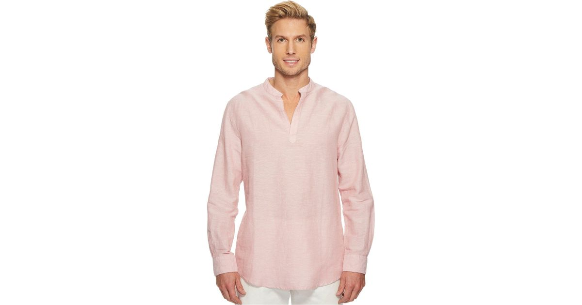b244a96b341a Perry Ellis Long-sleeve Solid Linen Cotton Popover Shirt in Pink for Men -  Save 10% - Lyst