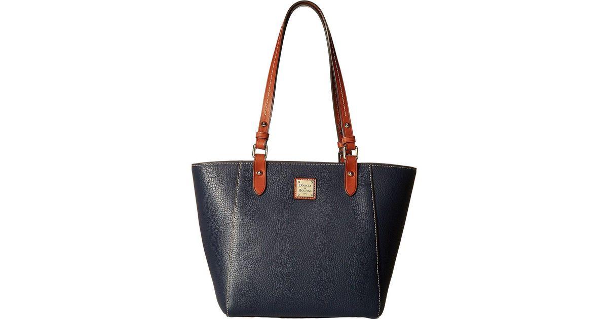 Lyst Dooney Bourke Pebble Janie Tote Black Tan Trim Handbags In Blue