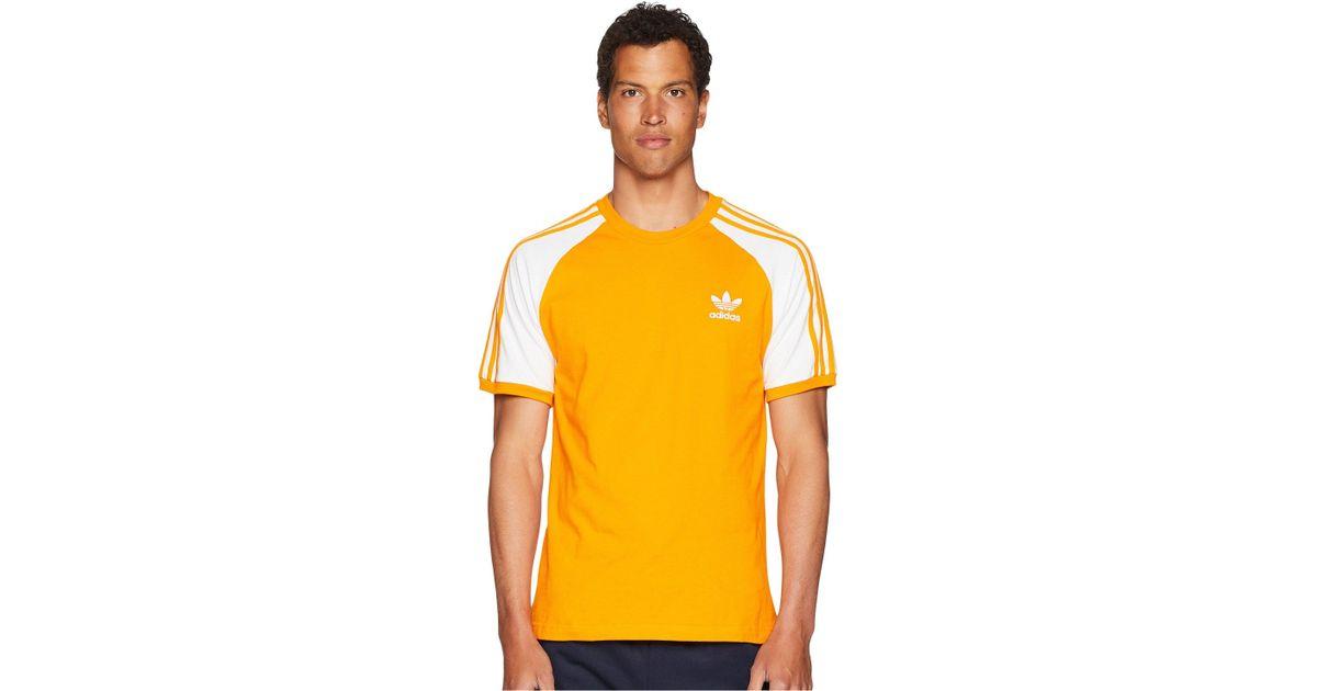 5de61ff19 adidas Originals 3-stripes Tee (bright Orange) T Shirt in Orange for Men -  Save 17% - Lyst