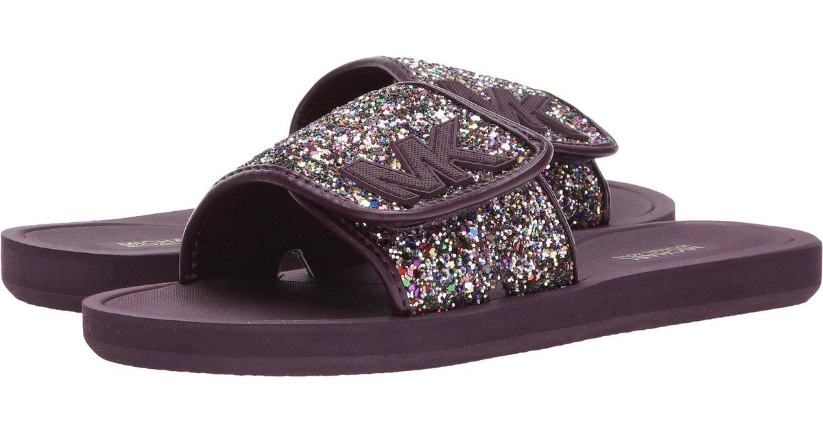 239c352e3a35 lyst michael michael kors mk slide in purple .