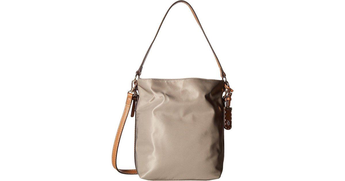 Lyst Tommy Hilfiger Julia Convertible Solid Nylon Hobo Khaki Handbags In Natural
