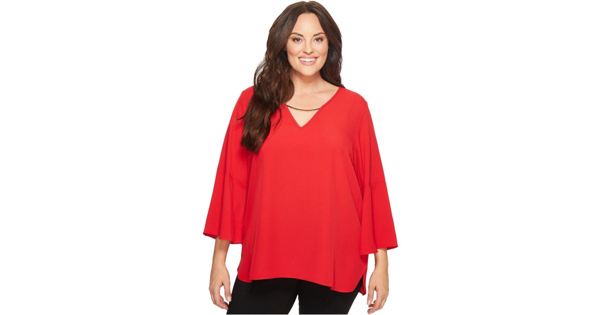 a9866af62d2be8 Lyst - Calvin Klein Plus Size Bell Sleeve V-neck Blouse W/ Hardware in Red