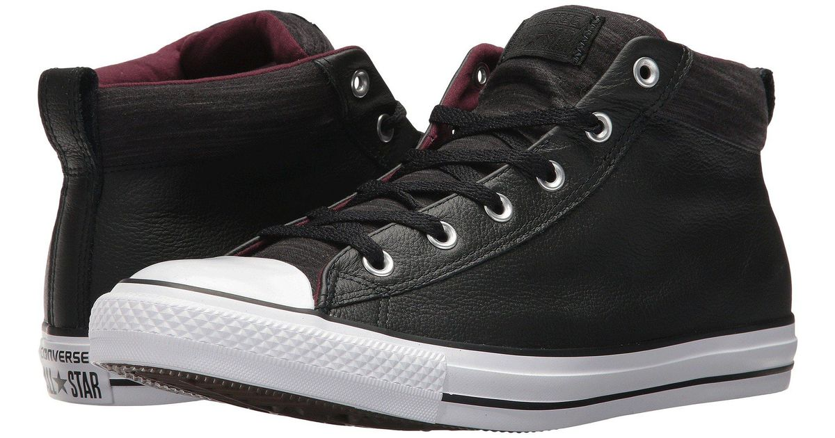 5ee09cb5ab55 Lyst - Converse Chuck Taylor® All Star® High Street Leather W  Fleece Mid  in Black for Men - Save 29%