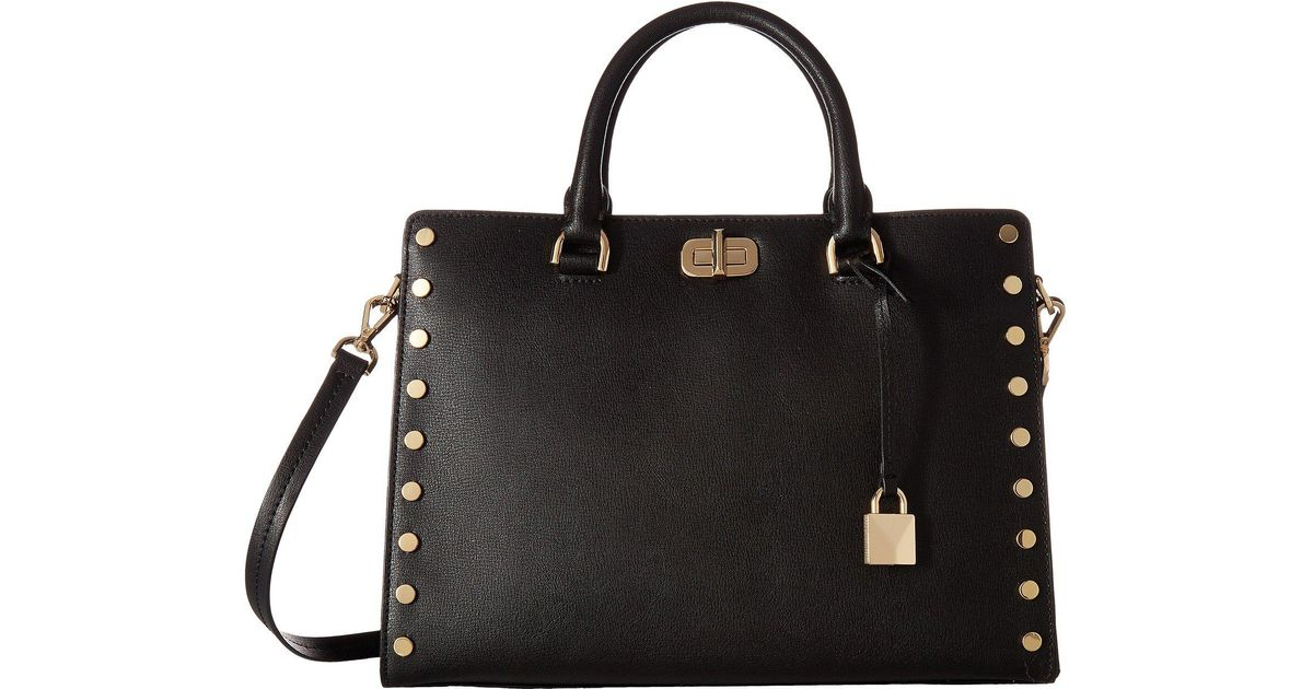 Lyst Michael Kors Sylvie Stud Large Satchel Black Handbags In