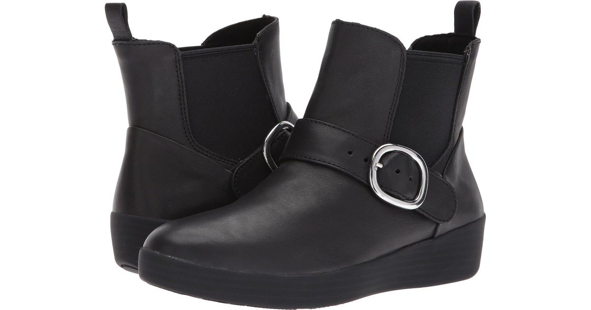 585ddcf66d19e1 Lyst - Fitflop Superbuckle Leather Chelsea Boots Fashion in Black - Save 45%