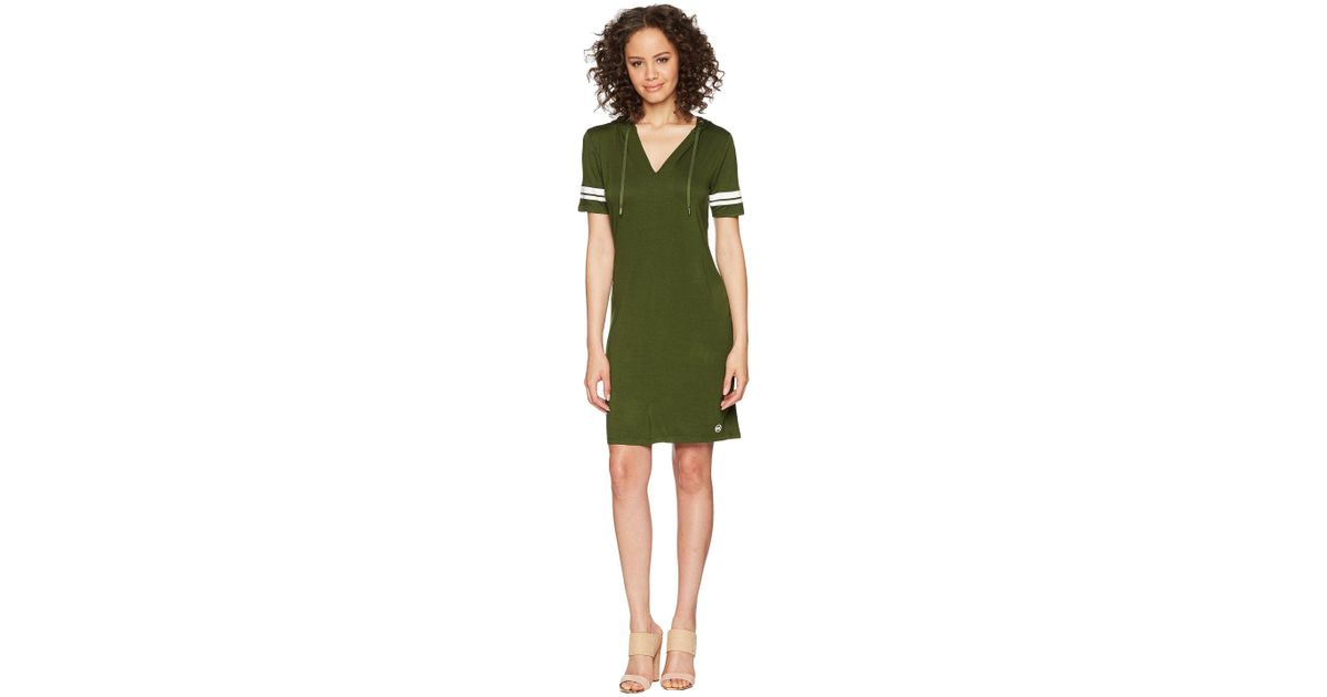 71ea5bbaadb Lyst - MICHAEL Michael Kors Stripe Sleeve Hoodie Dress in Green