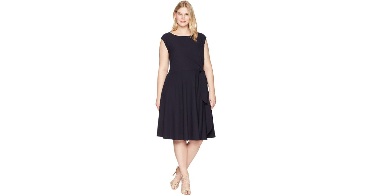 037656acc623 Tahari Plus Size Crepe Side Tie Fit And Flare Dress (navy) Dress in Blue -  Lyst