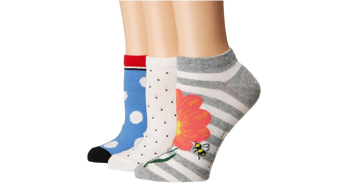 7368dab17ebe Lyst - Kate Spade Floral Bee 3-pack No Show Socks in Gray