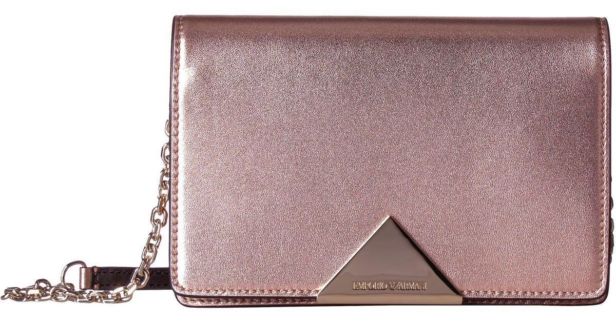 f16a790736e1 Lyst - Emporio Armani Metallic Smooth Leather Cross Body in Pink