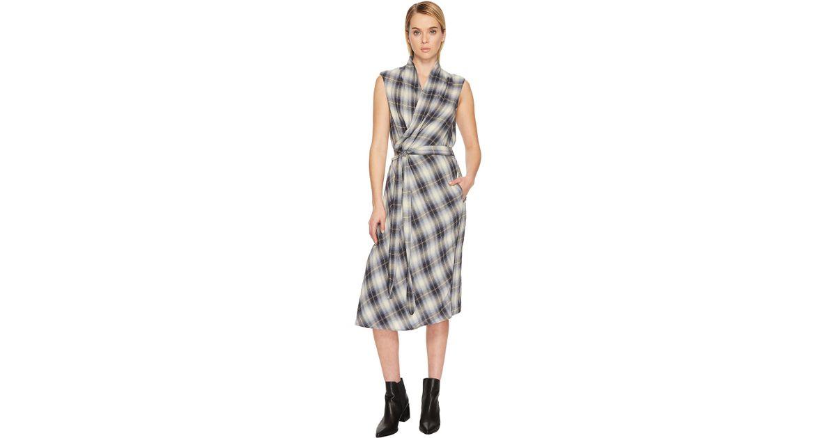 46873fa23c2302 Vince Shadow Plaid Sleeveless Wrap Dress in Black - Lyst