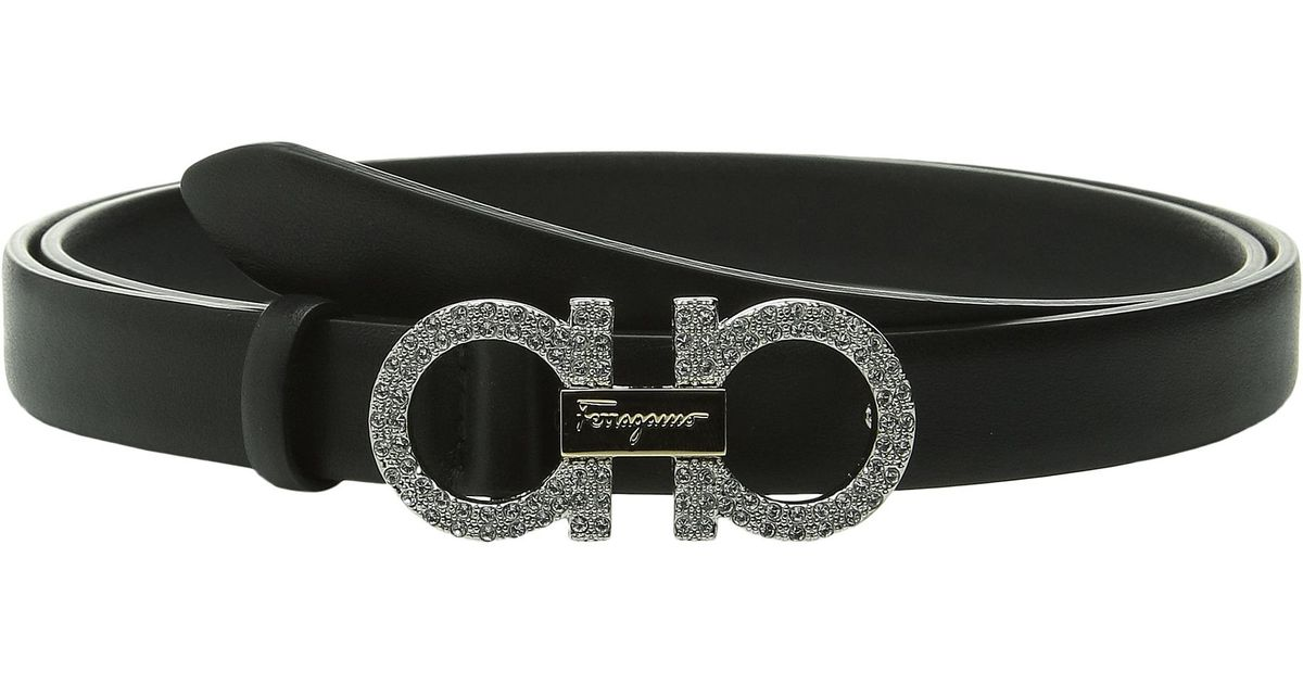 3ad35a9397666 Lyst - Ferragamo Crystal Double Gancini Belt in Black