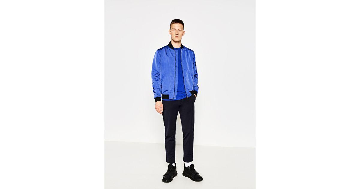 Zara bomber jacket in blue for men lyst for Zara mens shirts sale