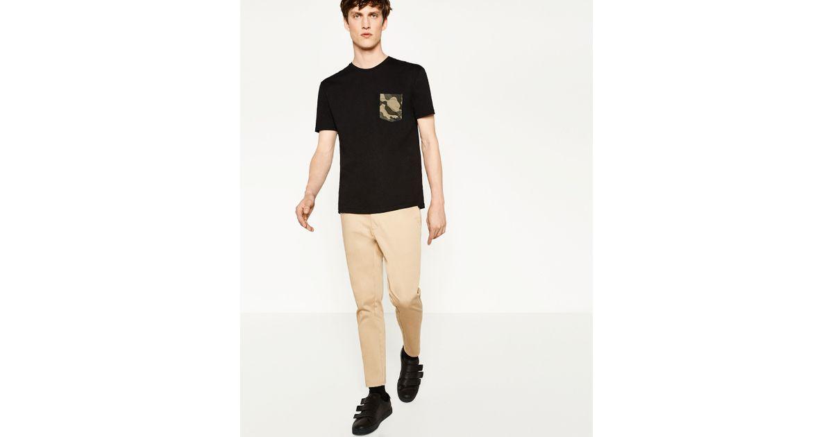 Zara camouflage pocket t shirt in black for men lyst for Zara black t shirt dress