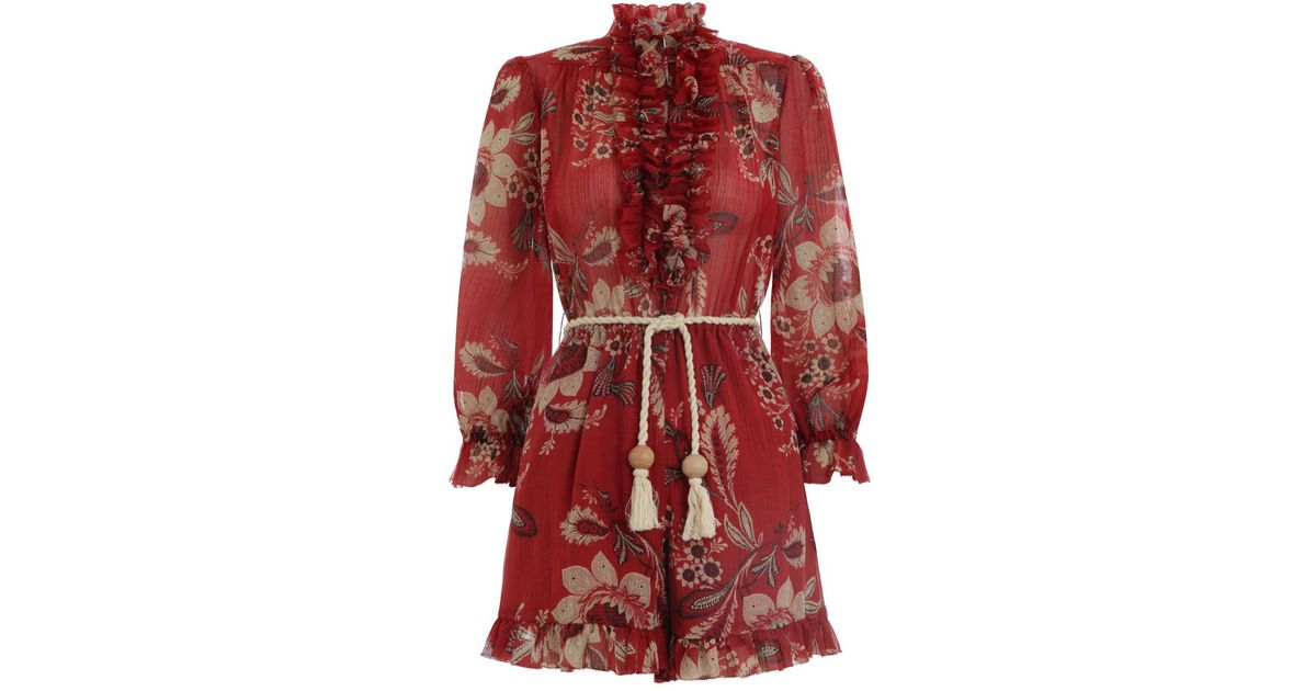 70cc8a97747 Lyst - Zimmermann Juno Frill Playsuit in Red