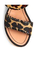 Diane Von Furstenberg Remy Leopardprint Calf Hair Cork Sandals - Lyst