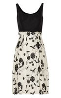 Oscar de la Renta Embellished Silktwill and Silkgauze Dress - Lyst