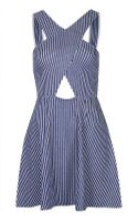 Topshop Denim Stripe Wrap Front Tunic
