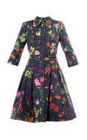 Oscar de la Renta Polkadot and Floralprint Dress - Lyst