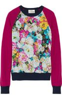 Erdem Carmen Floralprint Silkchiffon and Knitted Sweater - Lyst