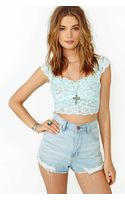 Nasty Gal Scalloped Lace Crop Top Pale Mint - Lyst