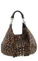 Betsey Johnson Lu Lu Studded Ruffle Leopard Print Leather Hobo