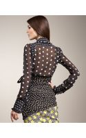 Aquilano+Rimondi Sheer Ruffled Polka-dot Blouse
