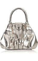 Alexander McQueen Elvie Croc-print Metallic-leather Tote - Lyst