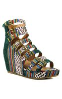 Jeffrey Campbell All - Caps - Multi Colored Fabric Wedge Sandal - Lyst