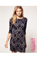 ASOS Collection Asos Petite Exclusive Slash Neck Lace Dress with Contrast Lining