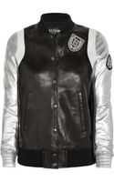 Balmain Appliqué Leather Baseball Jacket
