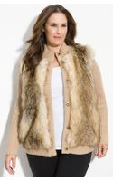 Michael by Michael Kors Faux Fur Front Cardigan (plus) - Lyst