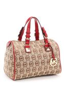 Michael by Michael Kors Medium Grayson Monogram Satchel, Beige/red - Lyst