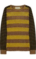Emma Cook Metallic Striped Fine-knit Sweater