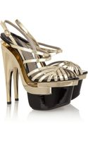 Versace Metallic Leather Platform Sandals - Lyst