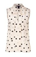 Marc By Marc Jacobs Cream Polka Dot Silk Top - Lyst