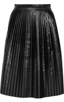 Maison Martin Margiela Faux Leather Pleated Skirt