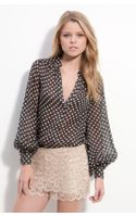 Haute Hippie Gypsy Sheer Polka Dot Silk Blouse