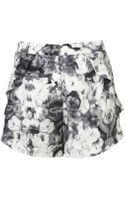 Topshop Poppy Print Frill Pocket Shorts - Lyst