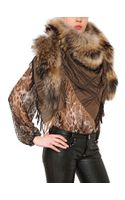Philipp Plein 03ven Wool Cashmere Shawl with Fox Fur