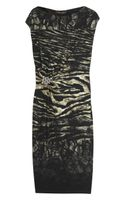 Roberto Cavalli Animalprint Satin Jersey Dress - Lyst