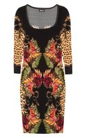 Just Cavalli Printed Satin Jersey Dress